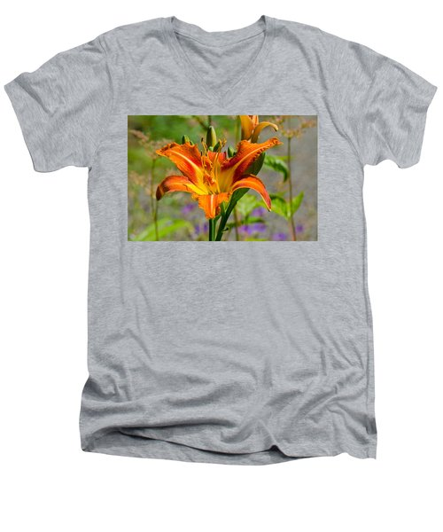 Orange Day Lily Men's V-Neck T-Shirt by Tikvah's Hope