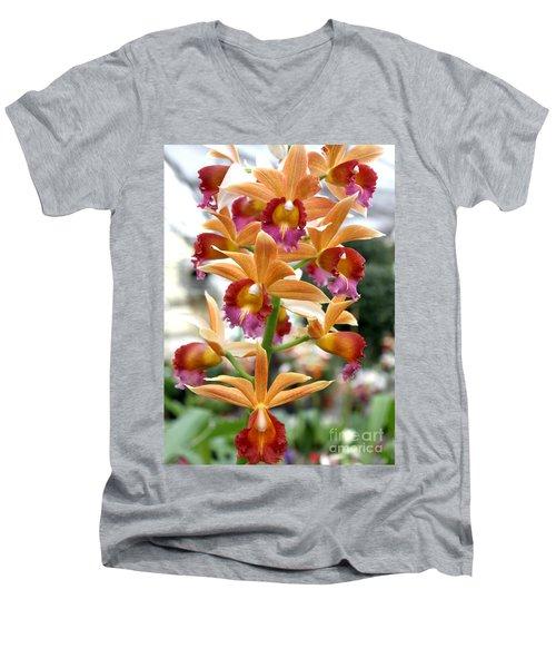 Men's V-Neck T-Shirt featuring the photograph Orange Orchids by Debbie Hart