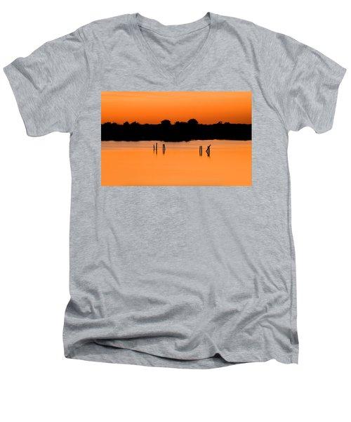 Orange Sunset Florida Men's V-Neck T-Shirt by Rich Franco