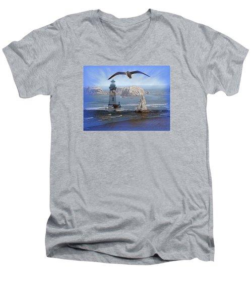 Oregon Coast Composite Men's V-Neck T-Shirt by Nick Kloepping