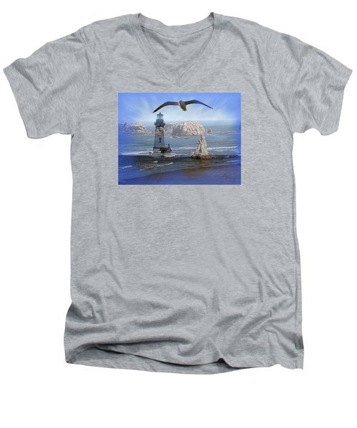 Oregon Coast Composite Men's V-Neck T-Shirt