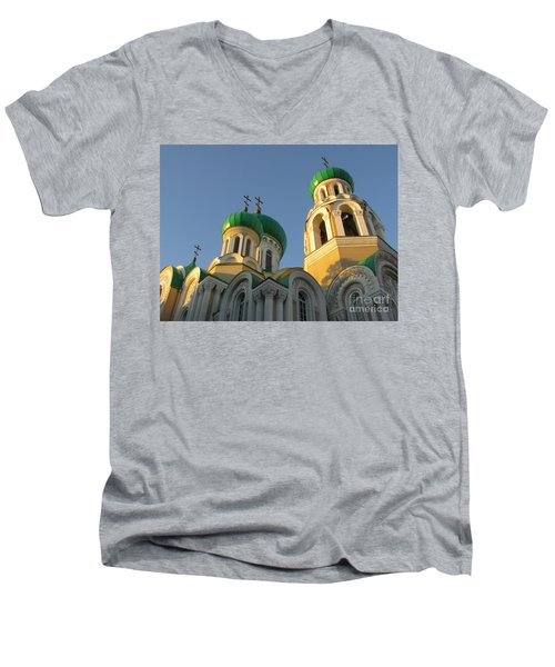 Orthodox Church Of Sts Michael And Constantine- Vilnius Lithuania Men's V-Neck T-Shirt