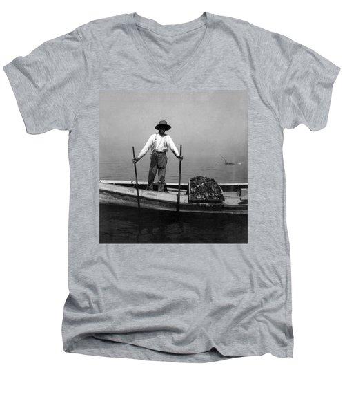 Oyster Fishing On The Chesapeake Bay - Maryland - C 1905 Men's V-Neck T-Shirt