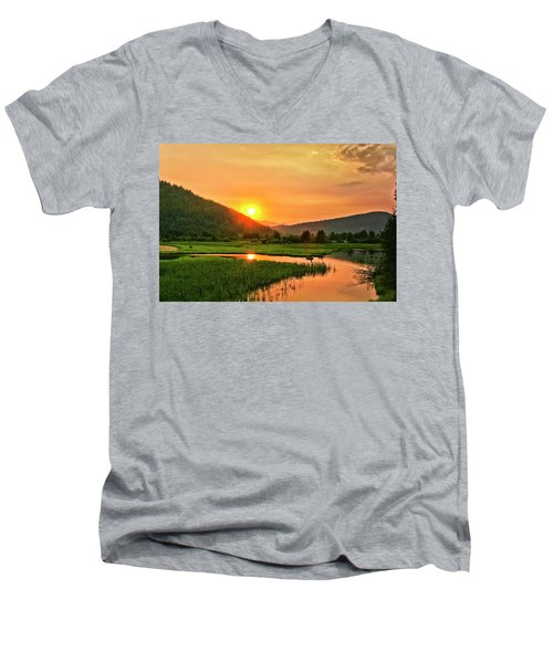 Men's V-Neck T-Shirt featuring the photograph Pack River Delta Sunset by Albert Seger