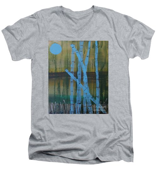 Pale Blue Moon Men's V-Neck T-Shirt