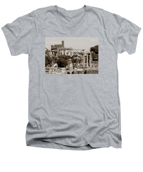 Men's V-Neck T-Shirt featuring the photograph Panoramic View Via Sacra Rome by Tom Wurl