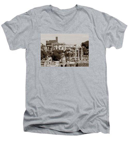 Panoramic View Via Sacra Rome Men's V-Neck T-Shirt