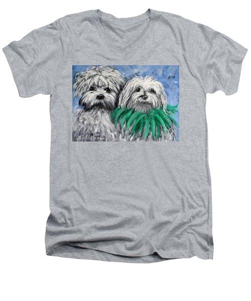 Parade Pups Men's V-Neck T-Shirt by Jeanette Jarmon