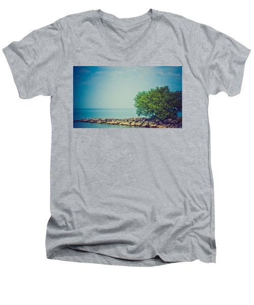 Men's V-Neck T-Shirt featuring the photograph Paradise Cove by Sara Frank