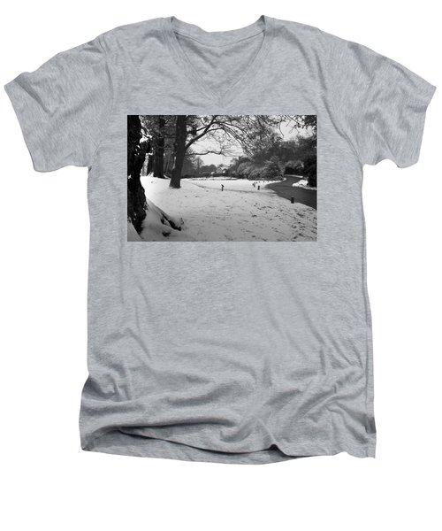 Men's V-Neck T-Shirt featuring the photograph Park Cottage by Maj Seda