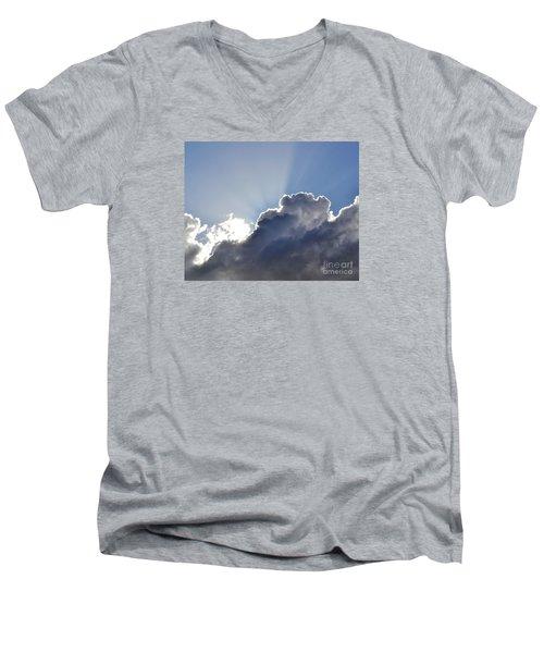 Partly Cloudy Men's V-Neck T-Shirt by Rebecca Margraf