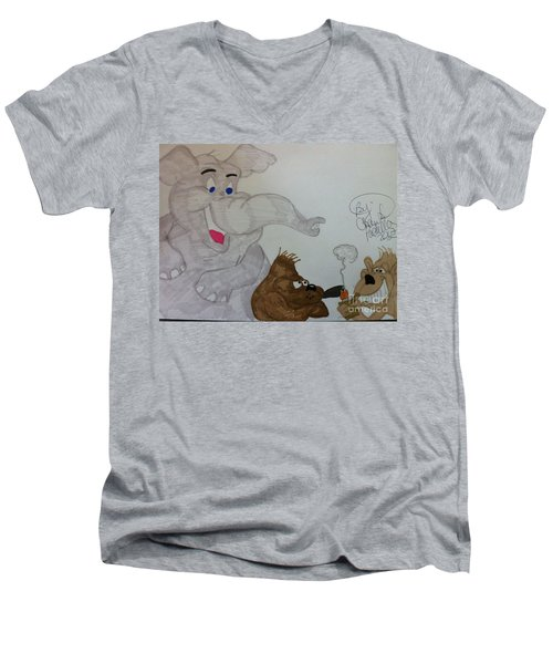 Partying Animals Cartoon Men's V-Neck T-Shirt