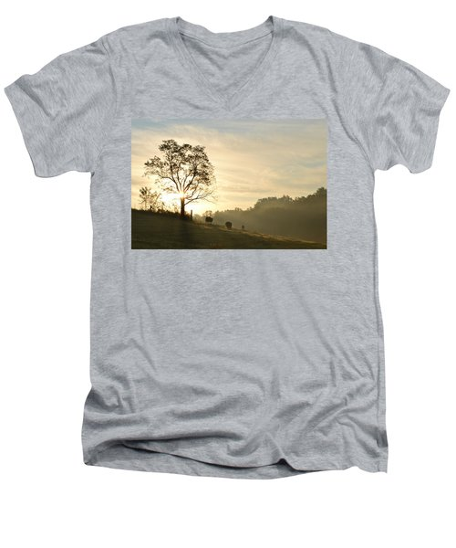 Men's V-Neck T-Shirt featuring the photograph Pasture Sunrise by JD Grimes