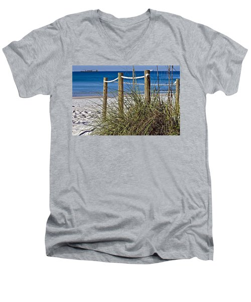 Men's V-Neck T-Shirt featuring the photograph Path To The Beach by Susan Leggett