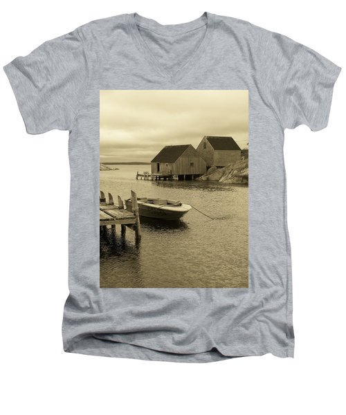 Peggys Cove In Sepia Men's V-Neck T-Shirt by Richard Bryce and Family