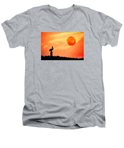 Men's V-Neck T-Shirt featuring the photograph Pelican During Hot Day by Dan Friend