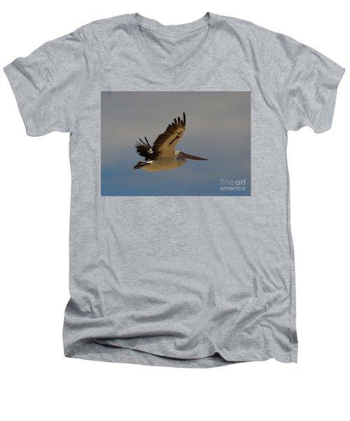 Men's V-Neck T-Shirt featuring the photograph Pelican In Flight 5 by Blair Stuart