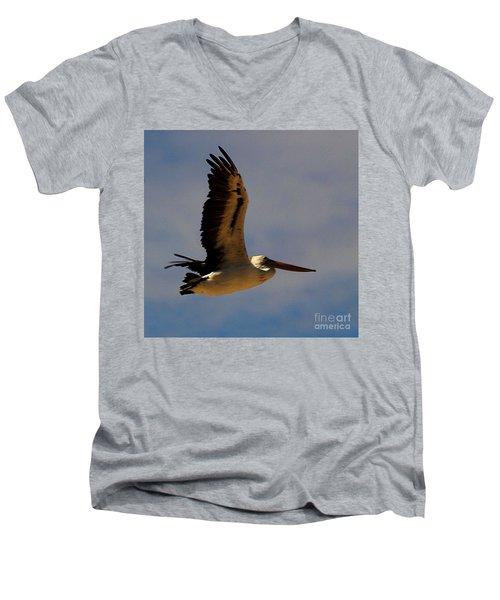 Men's V-Neck T-Shirt featuring the photograph Pelican In Flight by Blair Stuart