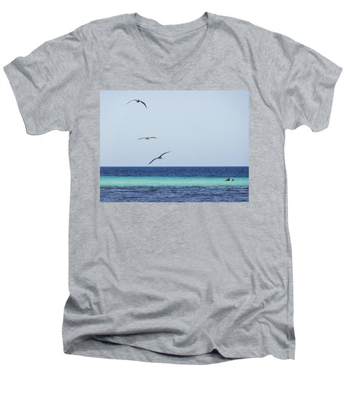 Pelicans In Flight Over Turquoise Blue Water.  Men's V-Neck T-Shirt
