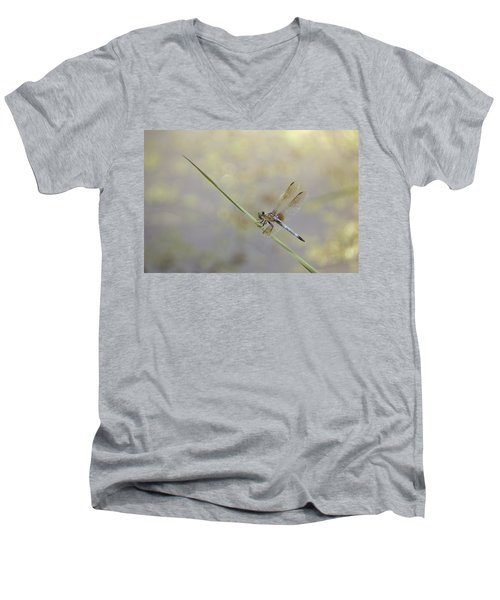 Men's V-Neck T-Shirt featuring the photograph Perched Dragon In Sepia by JD Grimes