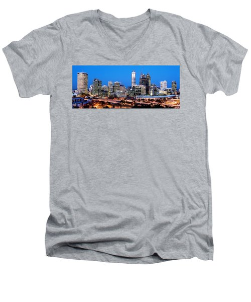 Men's V-Neck T-Shirt featuring the photograph Perth City Night View From Kings Park by Yew Kwang