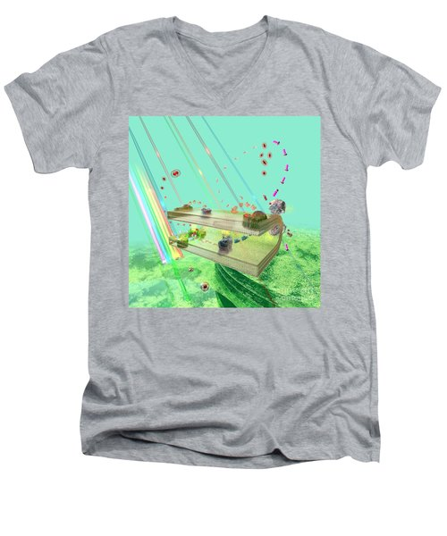 Men's V-Neck T-Shirt featuring the digital art Photosynthesis by Russell Kightley