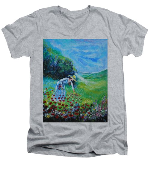 Men's V-Neck T-Shirt featuring the painting Picking Flowers by Leslie Allen