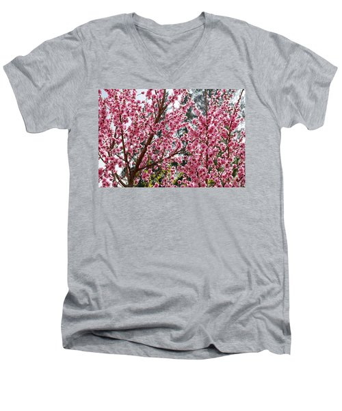 Men's V-Neck T-Shirt featuring the photograph Pink Flood by Fotosas Photography