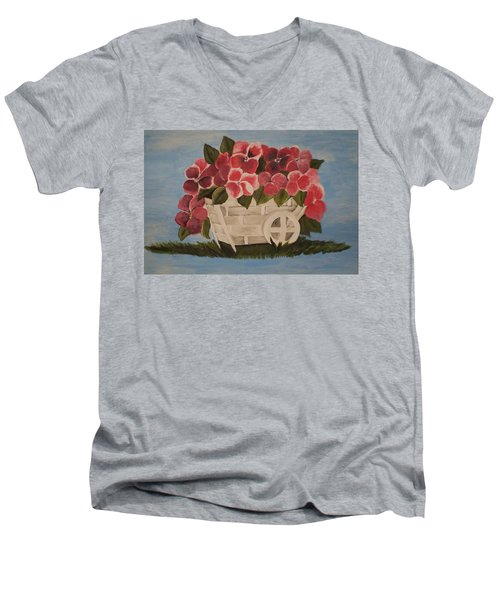 Men's V-Neck T-Shirt featuring the painting Pink Flowers In A Wagon Basket by Christy Saunders Church