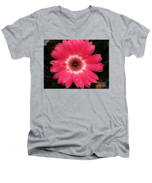 Men's V-Neck T-Shirt featuring the photograph Pink Gerbera Daisy by Kerri Mortenson