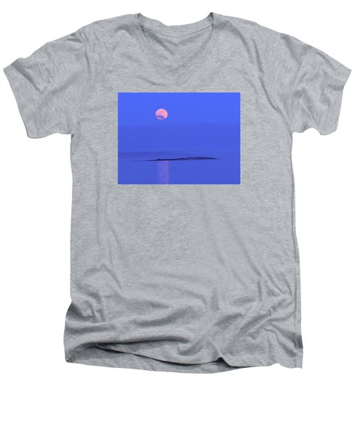 Men's V-Neck T-Shirt featuring the photograph Pink May Moon by Francine Frank