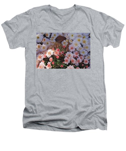 Men's V-Neck T-Shirt featuring the photograph Pink Mum by Joseph Yarbrough