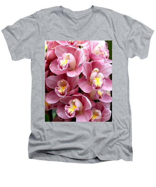Pink Orchids Men's V-Neck T-Shirt by Debbie Hart