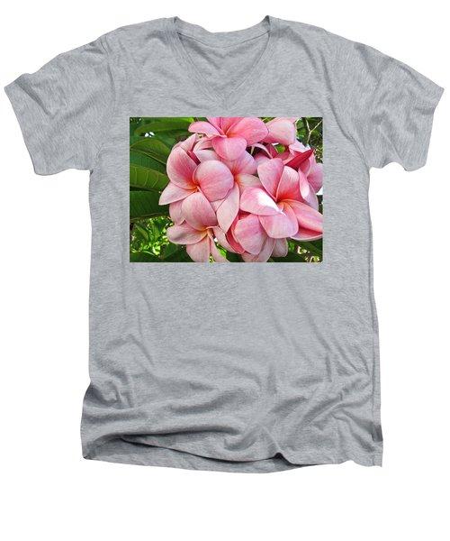 Pink Plumerias Men's V-Neck T-Shirt