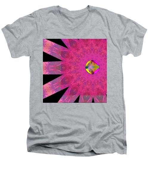 Men's V-Neck T-Shirt featuring the digital art Pink Ribbon Of Hope by Alec Drake