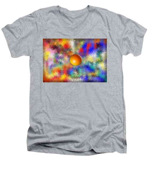 Men's V-Neck T-Shirt featuring the digital art Planet Stand Out by Alec Drake