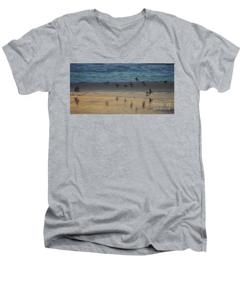 Plovers At Play On A Stormy Morning Men's V-Neck T-Shirt