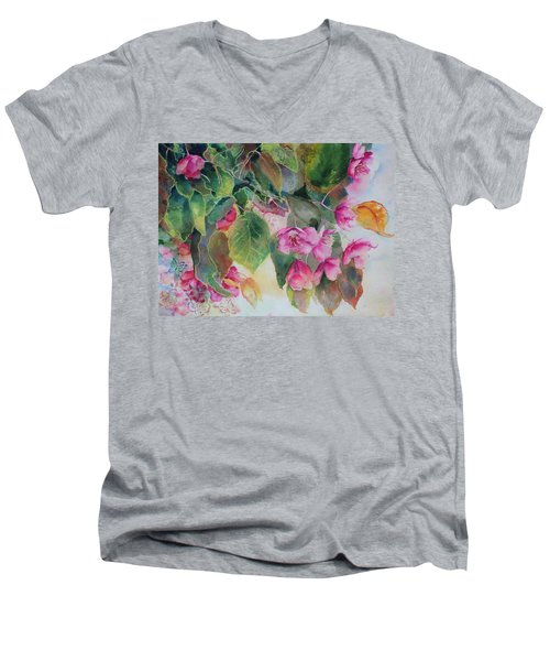 Men's V-Neck T-Shirt featuring the painting Plum Blossom by Ruth Kamenev