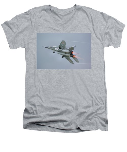 Polish Air Force Mig-29 Men's V-Neck T-Shirt by Tim Beach