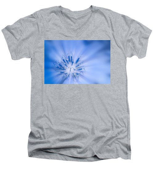 Men's V-Neck T-Shirt featuring the photograph Pollination  Blue Chicory by Randall Branham