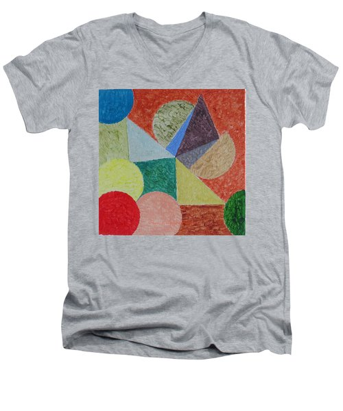 Men's V-Neck T-Shirt featuring the painting Polychrome by Sonali Gangane