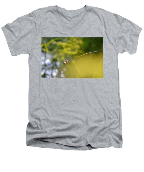 Men's V-Neck T-Shirt featuring the photograph Pond-side Perch by JD Grimes