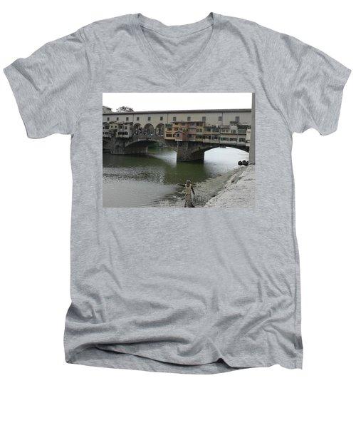 Men's V-Neck T-Shirt featuring the photograph Ponte Vecchio by Laurel Best