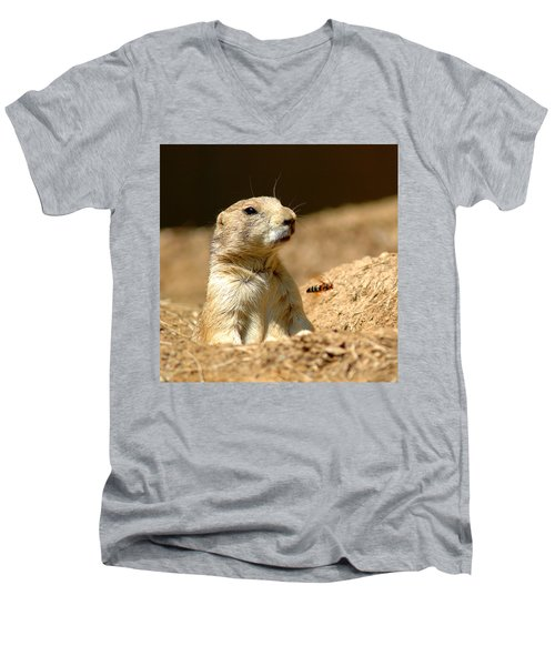 Prarie Dog Bee Alert Men's V-Neck T-Shirt by LeeAnn McLaneGoetz McLaneGoetzStudioLLCcom