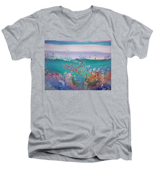 Pretty Garden Men's V-Neck T-Shirt by Judith Desrosiers