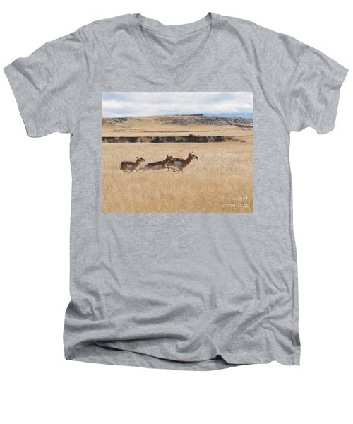 Pronghorn Antelopes On The Run Men's V-Neck T-Shirt