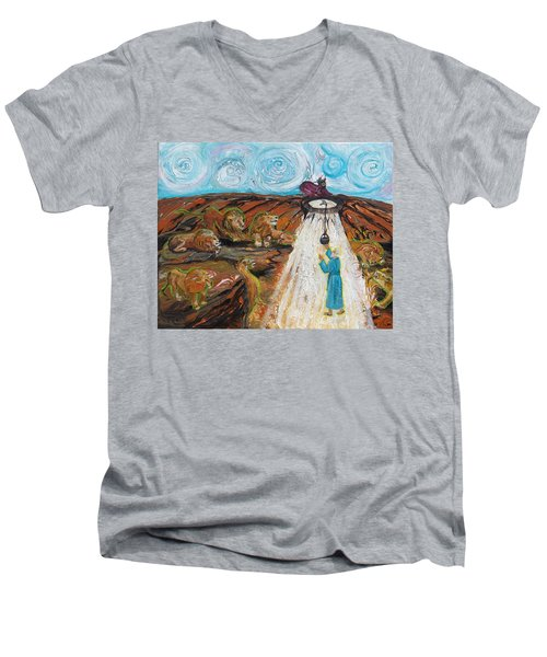 Prophetic Message Sketch 15 Daniel The Lion's Den And The Whirlwind Men's V-Neck T-Shirt