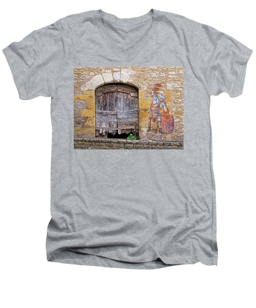 Men's V-Neck T-Shirt featuring the photograph Provence Window And Wall Painting by Dave Mills
