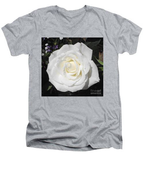 Pure White Rose Men's V-Neck T-Shirt