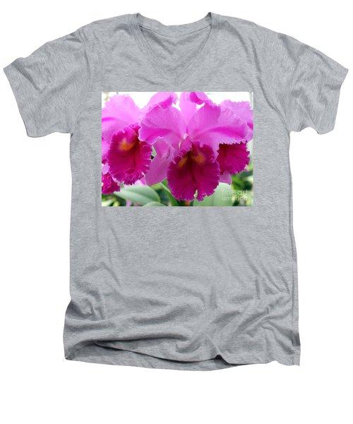 Men's V-Neck T-Shirt featuring the photograph Purple Explosion by Debbie Hart